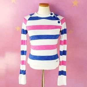 ROXY BUTTON SHOULDER STRIPED BLOUSE M